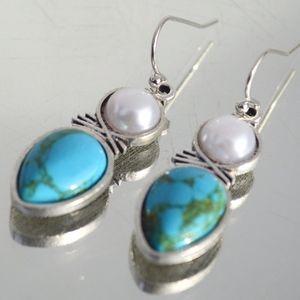 Jewelry - Turquoise Pearl Drop Southwestern Earrings Dangle